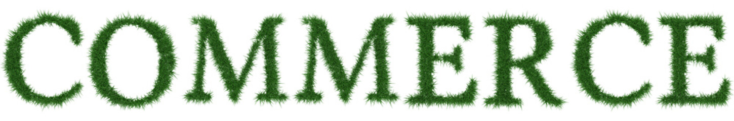 Commerce - 3D rendering fresh Grass letters isolated on whhite background.