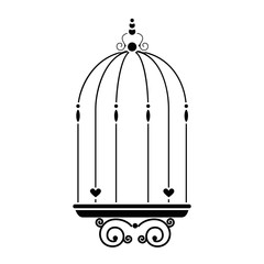 vintage birdcage icon over white background vector illustration