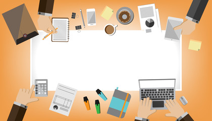 top view of office equipment and electronic device with a business activity. Workplace. Office. Work in a team.Objects lying on a background.With the white banner. Modern flat design.