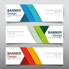 Collection horizontal business banner set vector templates. Clean modern geometric abstract background layout for website design. Simple creative cover header. In rectangle size.