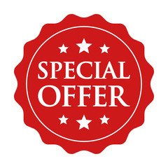 Red special offer label, badge, seal or burst flat vector icon for apps and websites