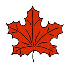 Hand drawn red maple leaf doodle illustration