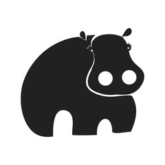 A silhouette of a hippopotamus on a white background, vector illustration