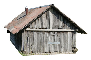 Usual no name wooden rural locked barn isolated