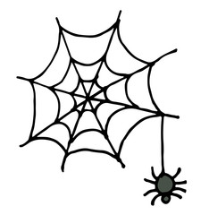 Hand Draw sketch, spider and web vector illustration