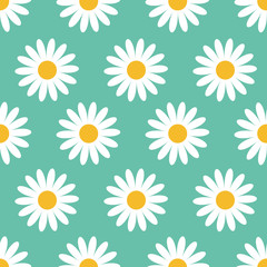 Cute camomile plant collection. Seamless Pattern. White daisy chamomile flower icon. Growing concept. Wrapping paper, textile template. Green background. Flat design.