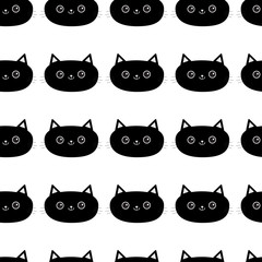 Black cat Line Pattern Seamless. Cute cartoon character. Baby pet collection. Wrapping paper, textile template. White background. Flat design.