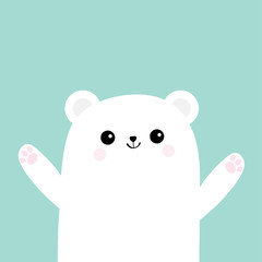 Polar white little small bear cub. Reaching for a hug. Cute cartoon baby character icon. Open hand ready for a hugging Arctic animal collection. Flat design Winter blue background Isolated.