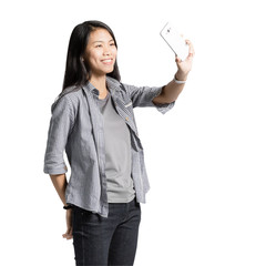 portrait of a beautiful asian woman selfie with smart phone. Isolated on white background with clipping path