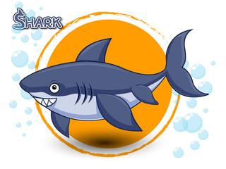 Cute Cartoon Shark on a color background