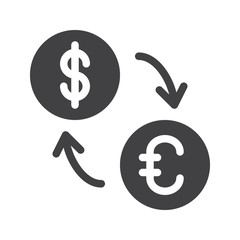 Exchange rate icon vector, filled flat sign, solid pictogram isolated on white. Symbol, logo illustration. Pixel perfect graphics