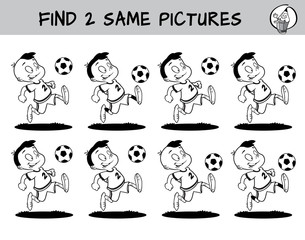 Football player running with the ball. Find two same pictures. Educational matching game for children. Black and white cartoon vector illustration