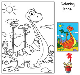Funny red dinosaur. Coloring book. Cartoon vector illustration