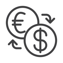 Currency exchange line icon, outline vector sign, linear style pictogram isolated on white. Symbol, logo illustration. Editable stroke. Pixel perfect vector graphics