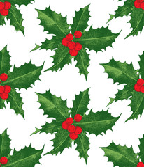Holly berry Christmas seamless pattern