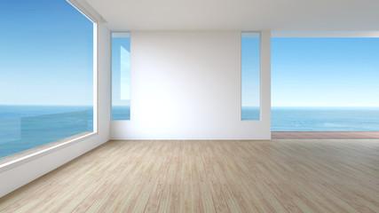 Modern Living room wood floor panorama sea view summer 3d rendering