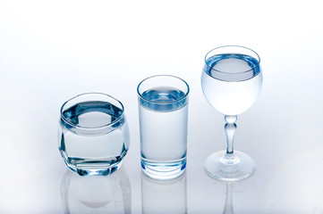 full glass of water isolated on white ,A glass of water ,water on a glass on white background