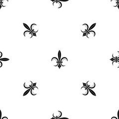 Lily heraldic emblem pattern seamless black