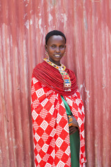 Samburu Woman in traditional costume. Kenya, Africa.