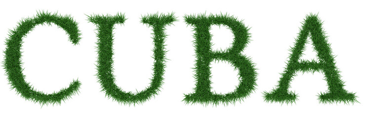 Cuba - 3D rendering fresh Grass letters isolated on whhite background.