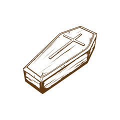 coffin with cross symbol