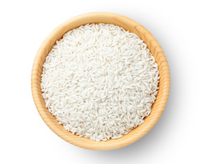 Top view of glutinous rice in a wooden bowl.