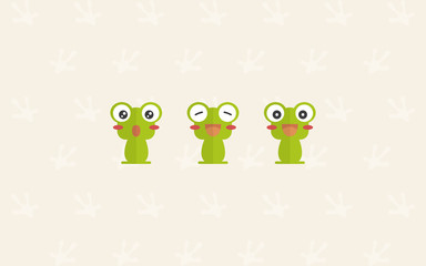 green frog flat cartoon wallpaper, pattern background, little frog