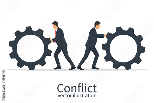 Conflict Cooperation Concept Disagreements Of Businessmen Business