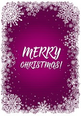 Pink Christmas card with white frame of snowflakes. Vertical New-Year winter background. Vector illustration.