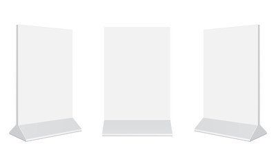 Set of outdoor advertising stand banners. Blank vertical poster isolated on white background. Display your design on this mockups in different positions. Vector illustration  Fotobehang