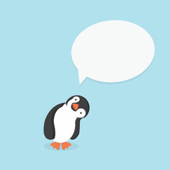 cute penguin with Quote text bubble