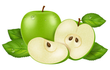 Fresh green apple with dew drops, sliced and whole. Vector illustration.
