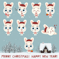 Merry Christmas and Happy New Year! Set fun bunny rabbit in various poses for christmas decoration and design. Collection isolated bunny rabbit in cartoon style.