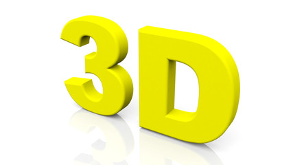 3D rendering yellow 3D word isolated on white background