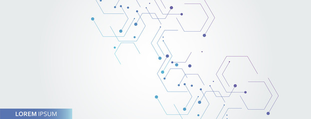 Vector banner design, white background with hexagon pattern