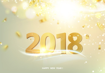 Happy new year card over gray background with golden sparks. Happy new year 2018. Holiday card. Template for your design. Vector illustration.