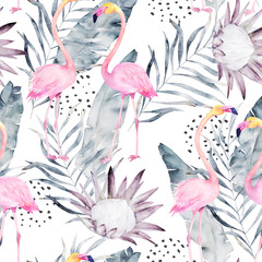 Abstract tropical pattern with flamingo, protea, leaves. Watercolor seamless print. Minimalism illustration