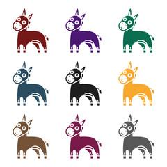Donkey icon in black style isolated on white background. Animals symbol stock vector illustration.