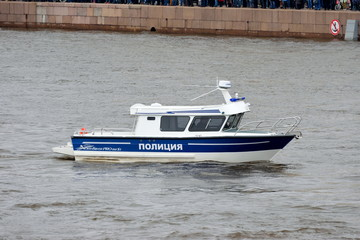 Police boat on the river in Saint-Petersburg