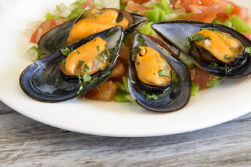 Printed kitchen splashbacks Seafoods Vinaigrette mussels served on a plate.