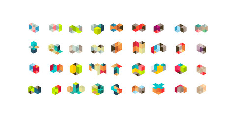 Big Set of minimal geometric multicolor shapes. Trendy hipster icons and logotypes. Business signs symbols, labels, badges, frames and borders