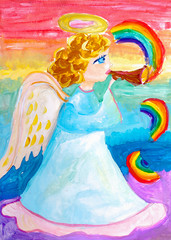 Children's drawing. Angel plays trumpet