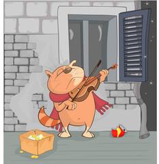 Illustration of a Busker Cat. Cartoon Character
