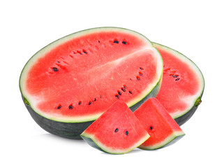 half and slice of fresh watermelon isolated on white background
