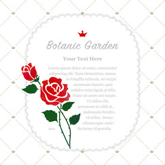 Colorful watercolor texture vector nature botanic garden memo frame red rose