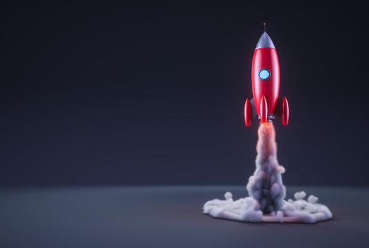 Red rocket launching