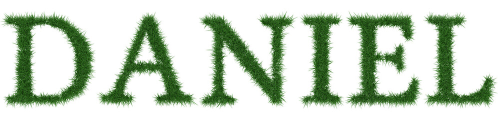 Daniel - 3D rendering fresh Grass letters isolated on whhite background. Wall mural