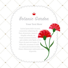 Colorful watercolor texture vector nature botanic garden memo frame red carnations