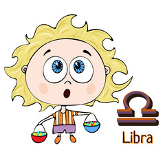Zodiac sign cartoon Libra, astrological character. Painted funny libra with a symbol isolated on white background, vector drawing