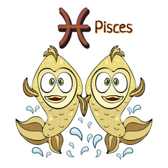 Zodiac sign cartoon Pisces, astrological character. Painted funny pisces with a symbol isolated on white background, vector drawing